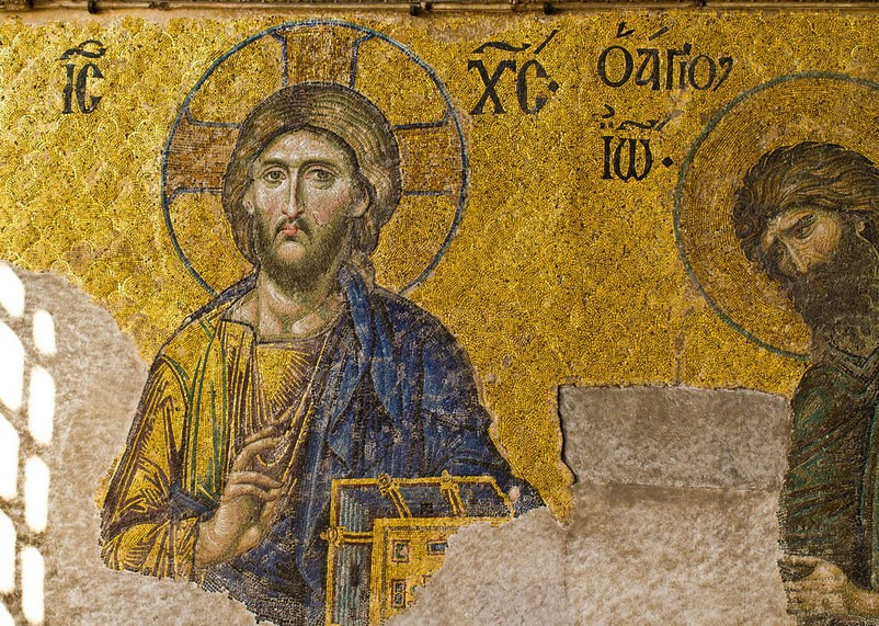 Дейсис, мозайка, детайл - Света София, Истанбул, Турция (източник: hiveminer.com)
