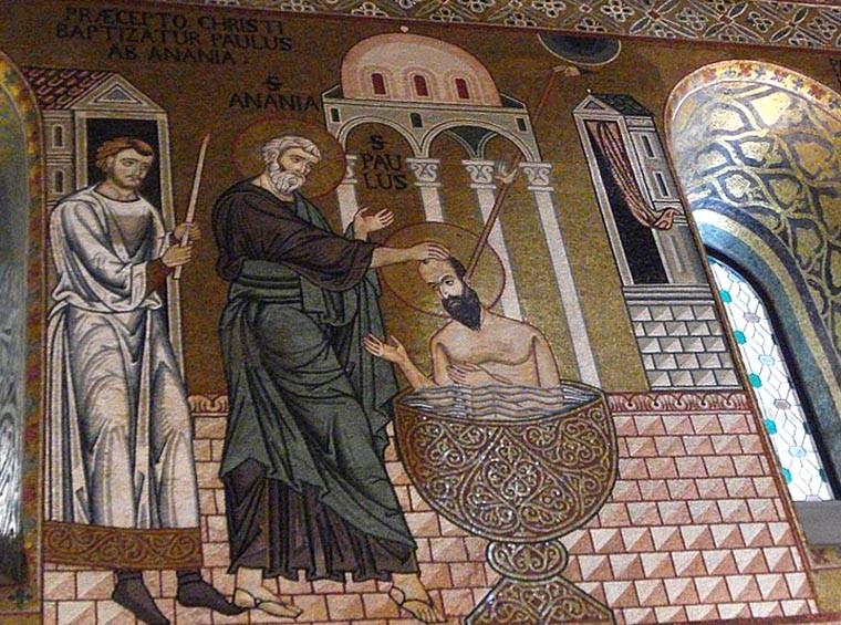 Кръщение на ап. Павел, Cappella Palatina, 12 в. -  ru.wikipedia.org