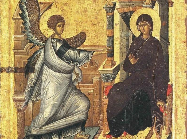 Благовещение - византийска икона от XIV в., Охрид, Македония (pravlife.org)