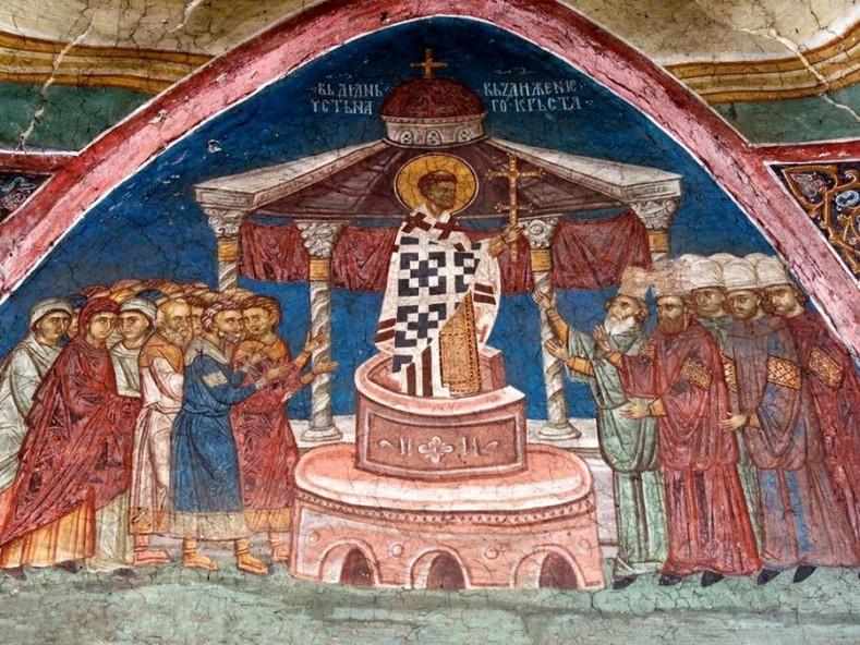 Въздвижение на Честния Кръст, стенопис от XIV в. в манастира Високи Дечани, дн. Косово