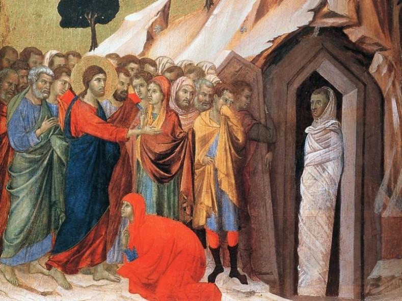Възкресението на Лазар, фрагмент. Дучо ди Буонинсеня. 1308-1311 г.( pravoslavie.ru)