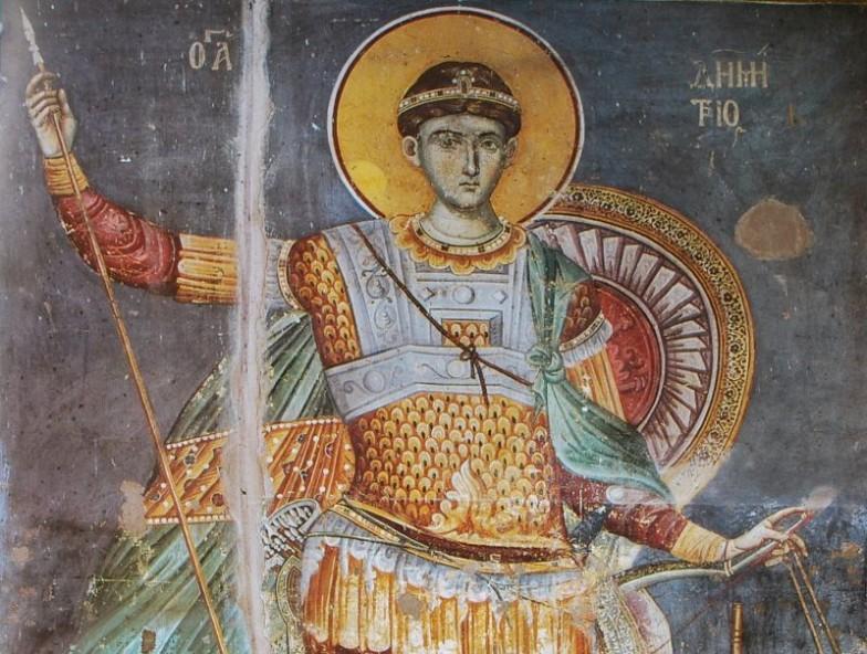 Св. Димитър от църквата Протатон в Карея (Света Гора), Мануил Панселинос (13-14 в.)