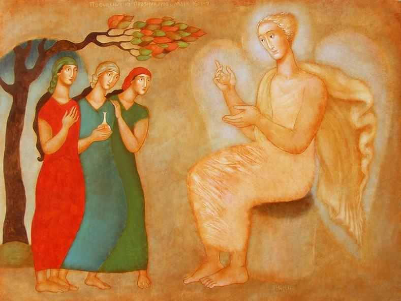 Юлия Станкова - Посещение на празния гроб (Марк 16:1-7), живопис върху дърво, 2017 (pinterest.com)