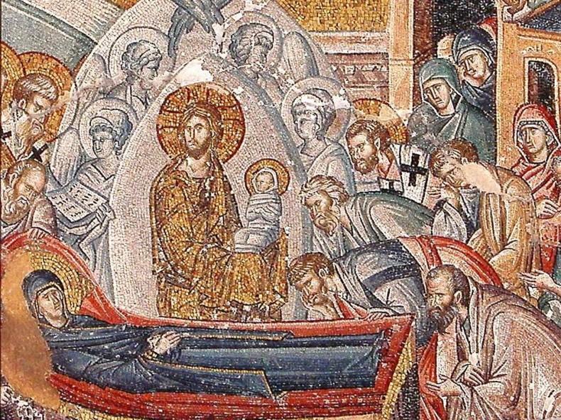 Успение на Пресвета Богородица - фрагмент, мозайка от манастира Хора, Истанбул