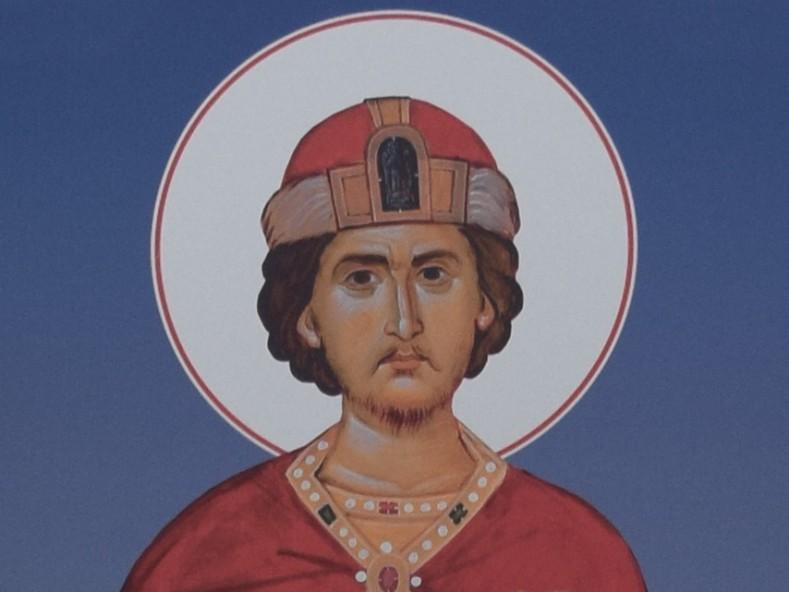 Св. Цар Борис, фрагмент. Образ от експозицията Проглас към Евангелието, Варна