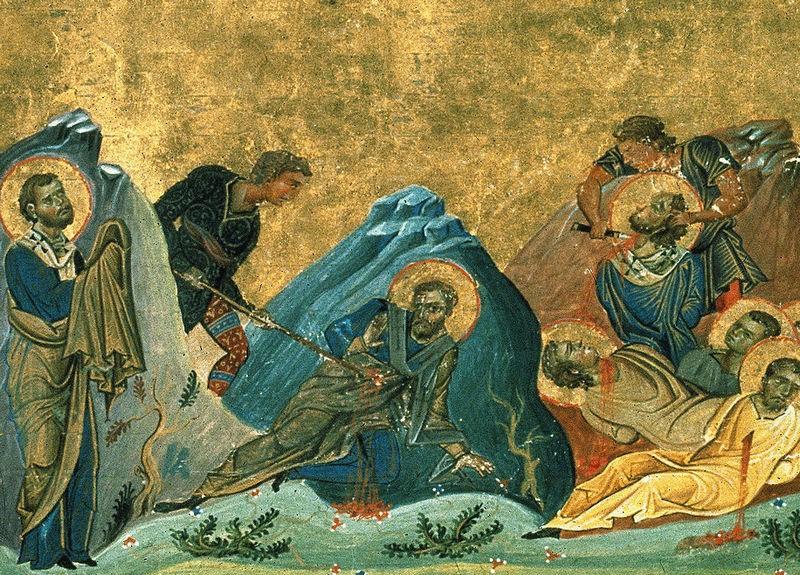 Апостолы Стахий, Амплий, Урван.  Миниатюра от Минология на Василий II - 985 г.. Ватиканска библиотека. Рим