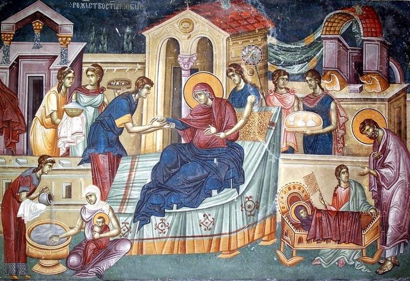 Рождество на Богородица, фреска, храм Св. праведни Йоаким и Ана, Студеница