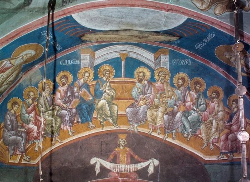 Петдесетница - фреска от манастира Дечани, Сърбия (pinterest.com)