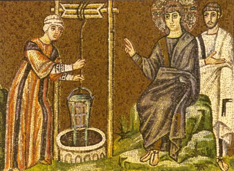 Христос разговаря със самарянката - фрагмент, мозайка, Равена, 6 век (източник: www.cst.edu)