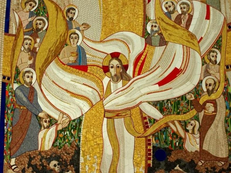 Марко Иван Рупник - Възкресение Христово (детайл), 2006, мозайка от параклис на колежа Св. Станислав, Любляна, Словения (източник: artandtheology.org)