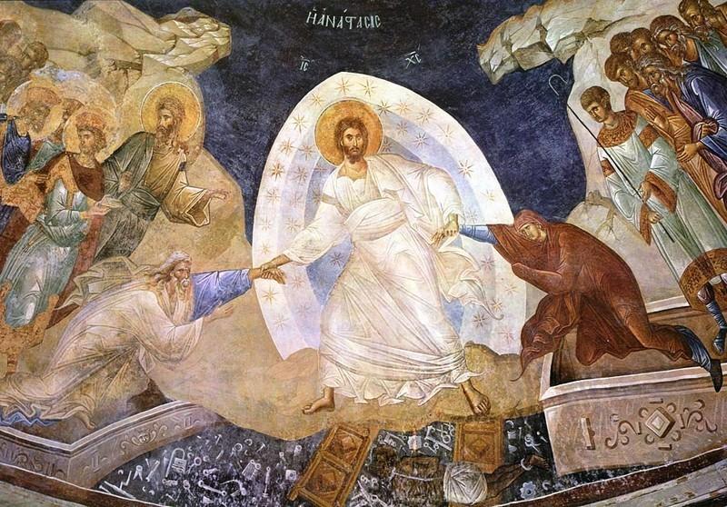 Възкресение. Фреска от 14 в. в църквата Иисус Христос Спасител на древния манастир Хора. Истанбул, Турция (ekorinthos.gr)