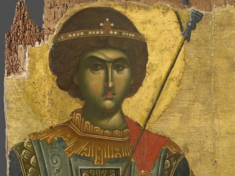Св. Георги, икона от 14 в., фрагмент, манастир Ватопед, Атон, Гърция