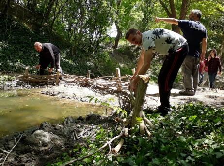 изграждане на плет край езерцето