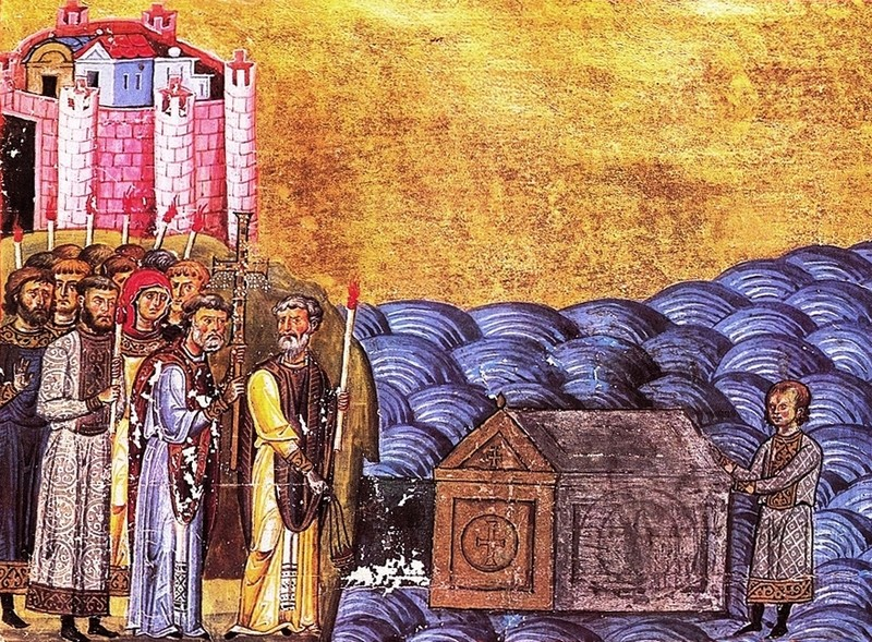 Из Менология на Василий II - намиране на мощите на св.  Климент Римски (iconaimmaginedio)