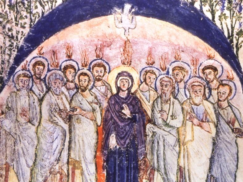 Св. Петдесетница в Сирийското евангелие на монаха Рабула (Rabbula Gospels) - VI в.