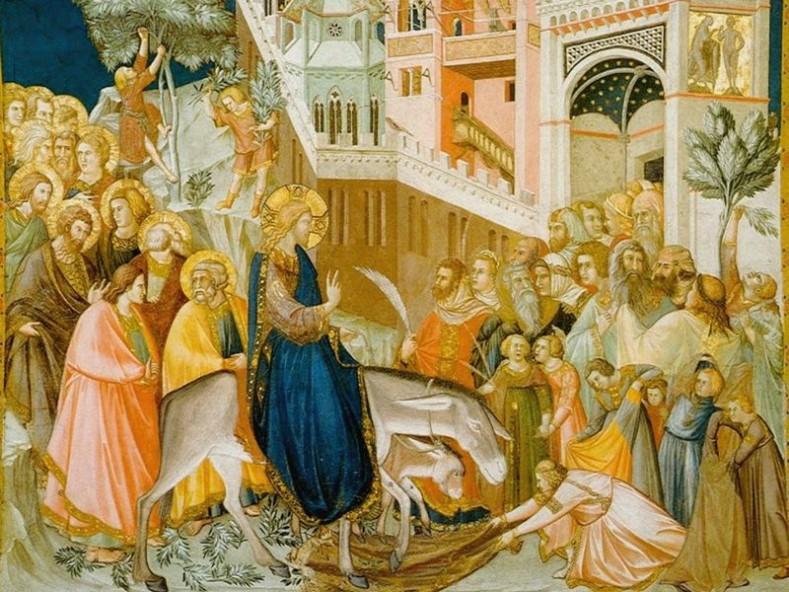 Пиетро Лоренцети. Вход Господен в Йерусалим, фреска. 1320 г. (.wikiwand.com)