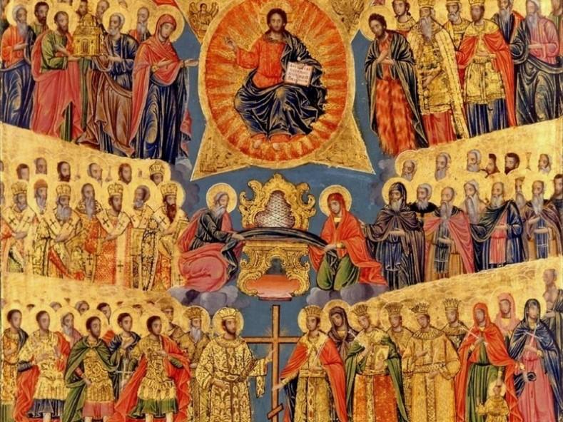 Вси светии, фрагмент - икона от 19 в. манастир Св. Павел, Атон