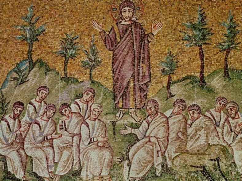Проповедта на планината, мозайка от V в., Равена, Италия