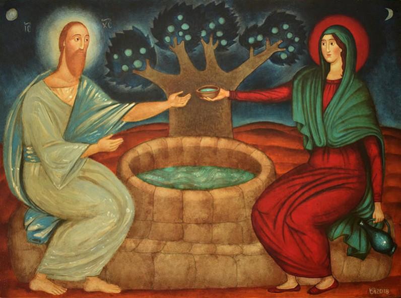 Христос и Самарянката - 2018, смесена техника върху дърво, художник: Юлия Станкова