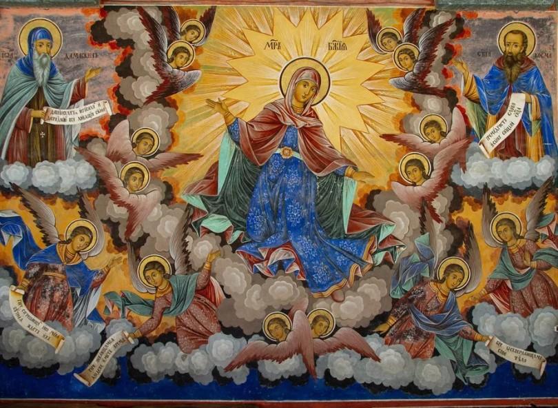 Пресвета Богородица, стенопис от Рилския манастир