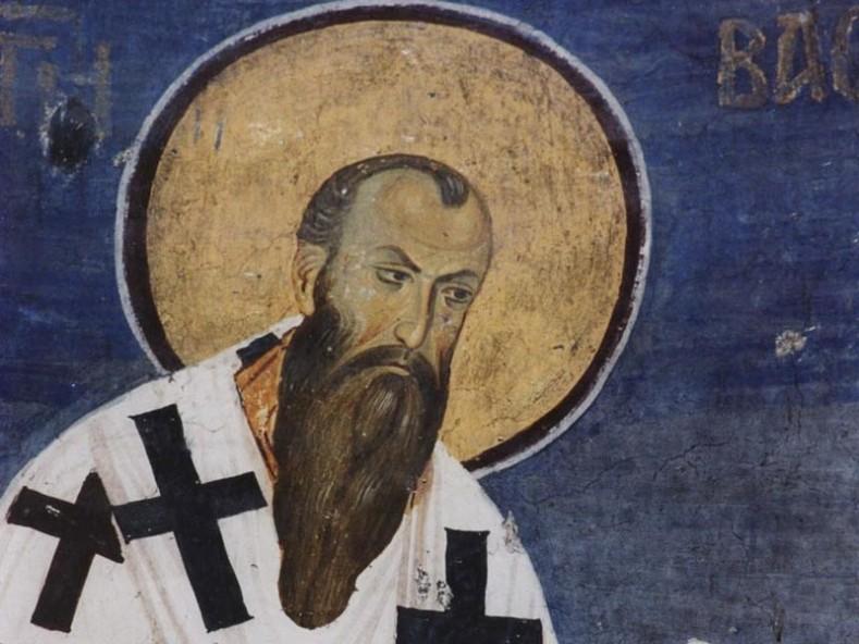 Св. Василий Велики, Фреска - фрагмент, 1209 год. Cърбия - Студеница (k-istine.ru)