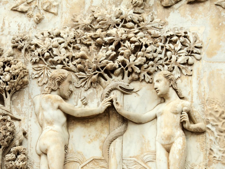 Прародителският грях на Адам и Ева, катедрала в Орвието, Италия