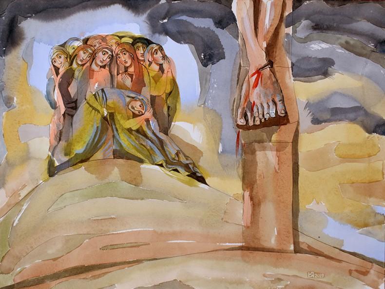 Разпятие Христово. Жените при Кръста, акварел, 2019 - худ. Юлия Станкова